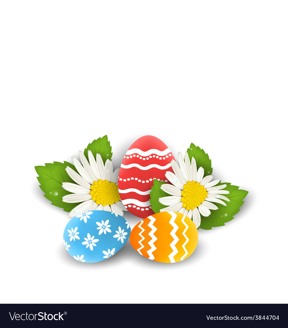 Traditional colorful ornate eggs with flowers vector | Price: 1 Credit (USD $1)