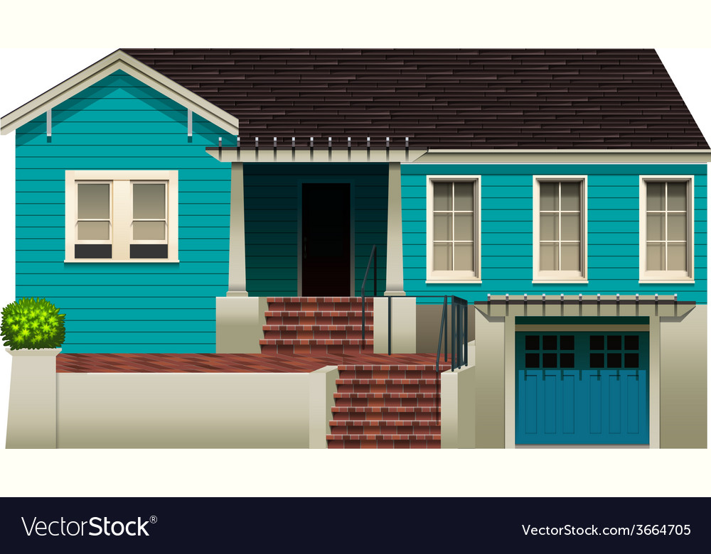 A blue residential house vector | Price: 3 Credit (USD $3)