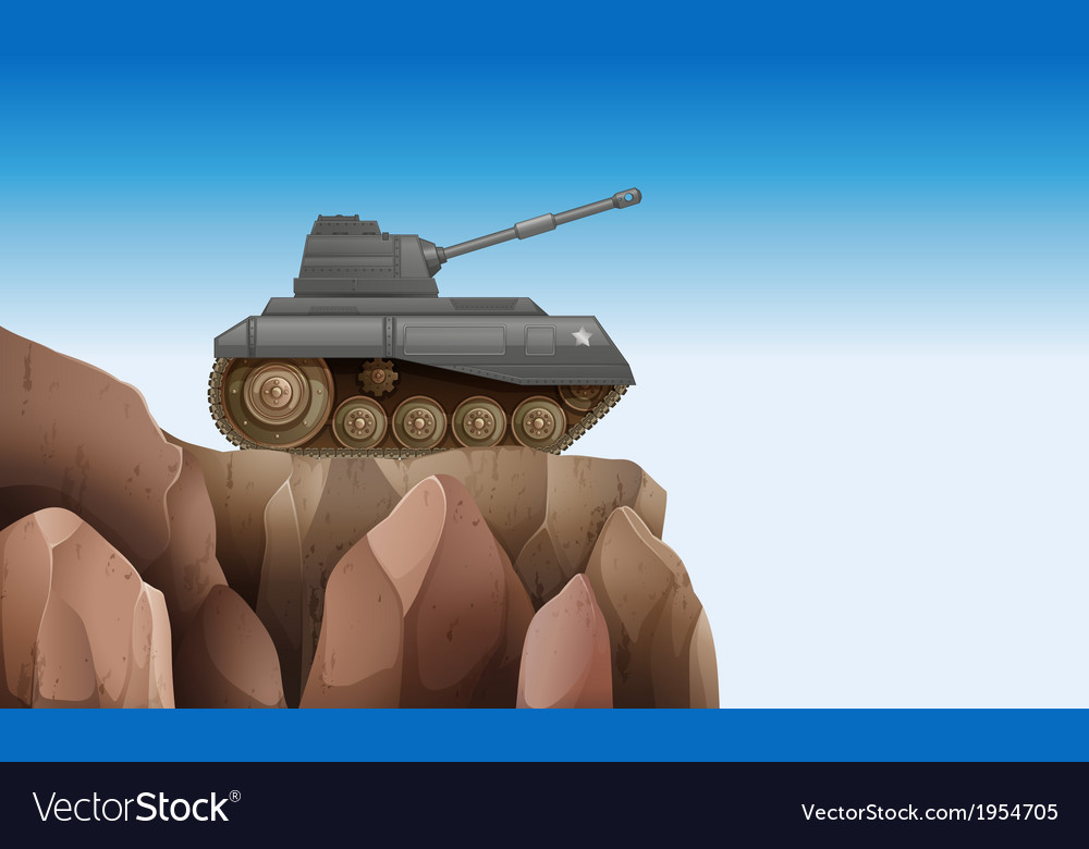 A tank at the cliff vector | Price: 1 Credit (USD $1)