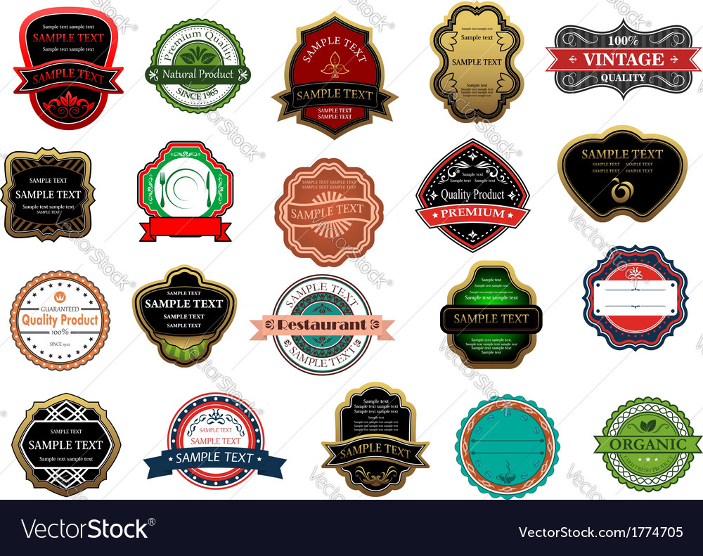 Badges and labels set vector | Price: 1 Credit (USD $1)