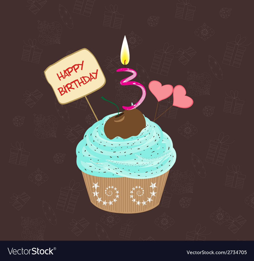 Birthday cupcake with lit candle in shape of vector   Price: 1 Credit (USD $1)