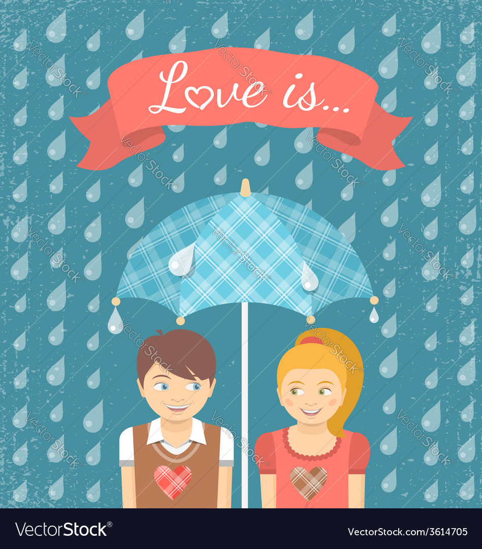 Boy and girl in love under checkered umbrella vector | Price: 1 Credit (USD $1)