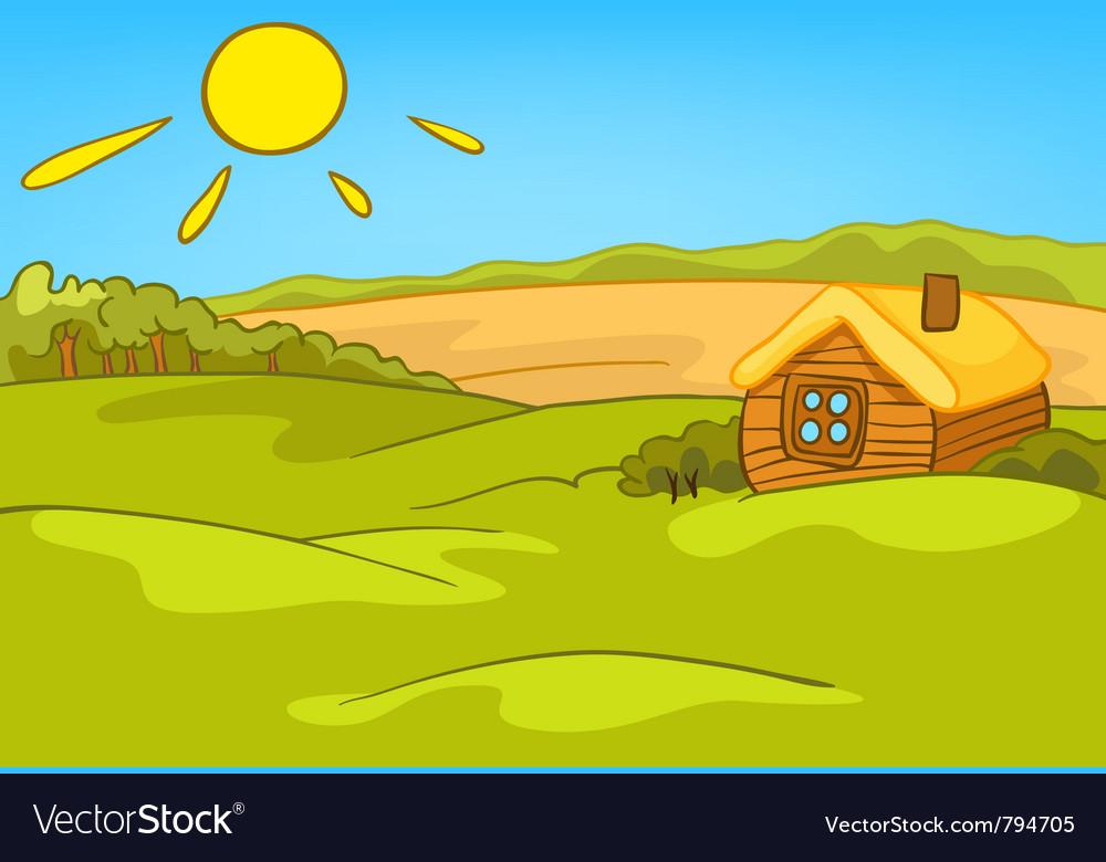 Cartoon nature landscape vector | Price: 1 Credit (USD $1)