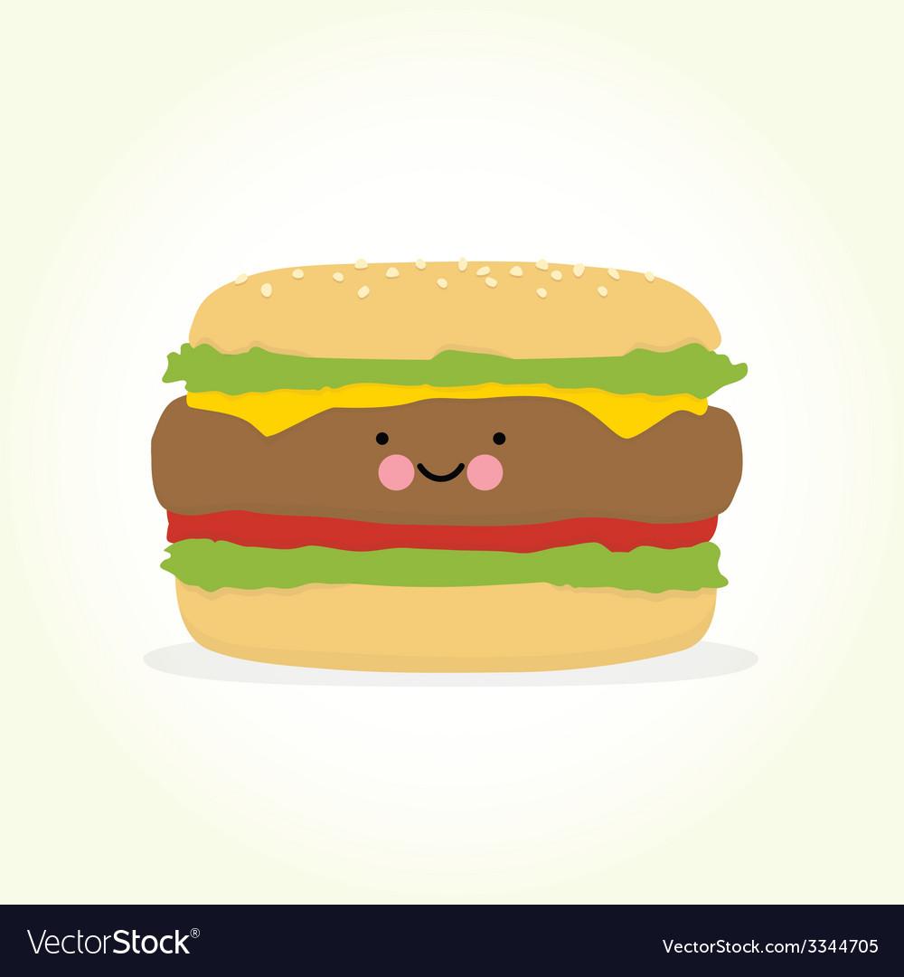 Cute cartoon burger vector | Price: 1 Credit (USD $1)