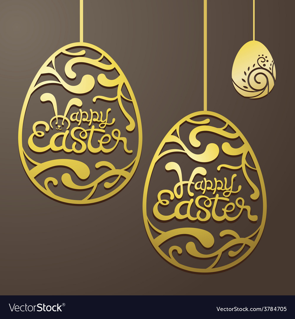 Gold easter eggs decorate vector | Price: 1 Credit (USD $1)