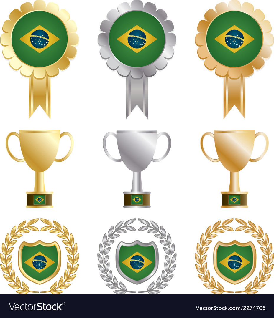 Gold silver and bronze brazil vector | Price: 1 Credit (USD $1)