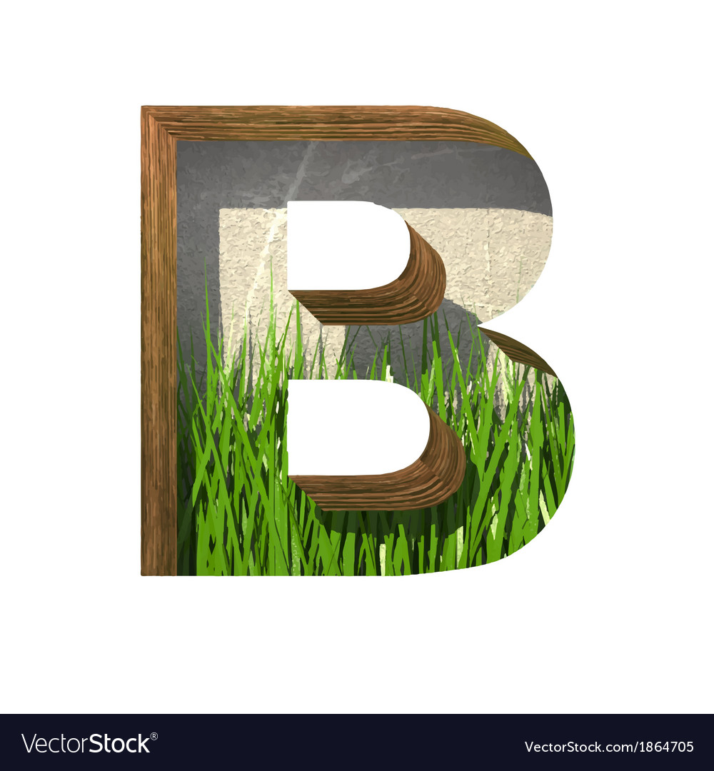Grass cutted figure b paste to any background vector | Price: 1 Credit (USD $1)