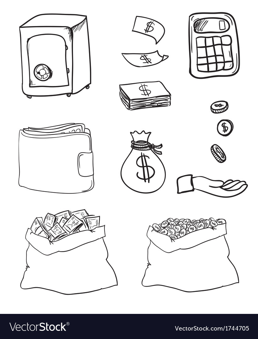 Hand drawn business icons vector | Price: 1 Credit (USD $1)