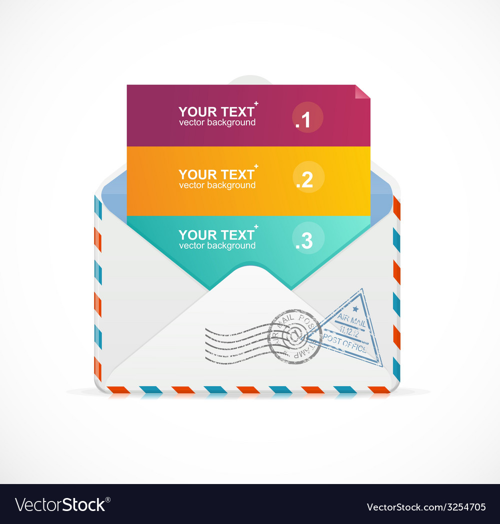 Mail postcard menu with 3 choices 123 vector | Price: 1 Credit (USD $1)