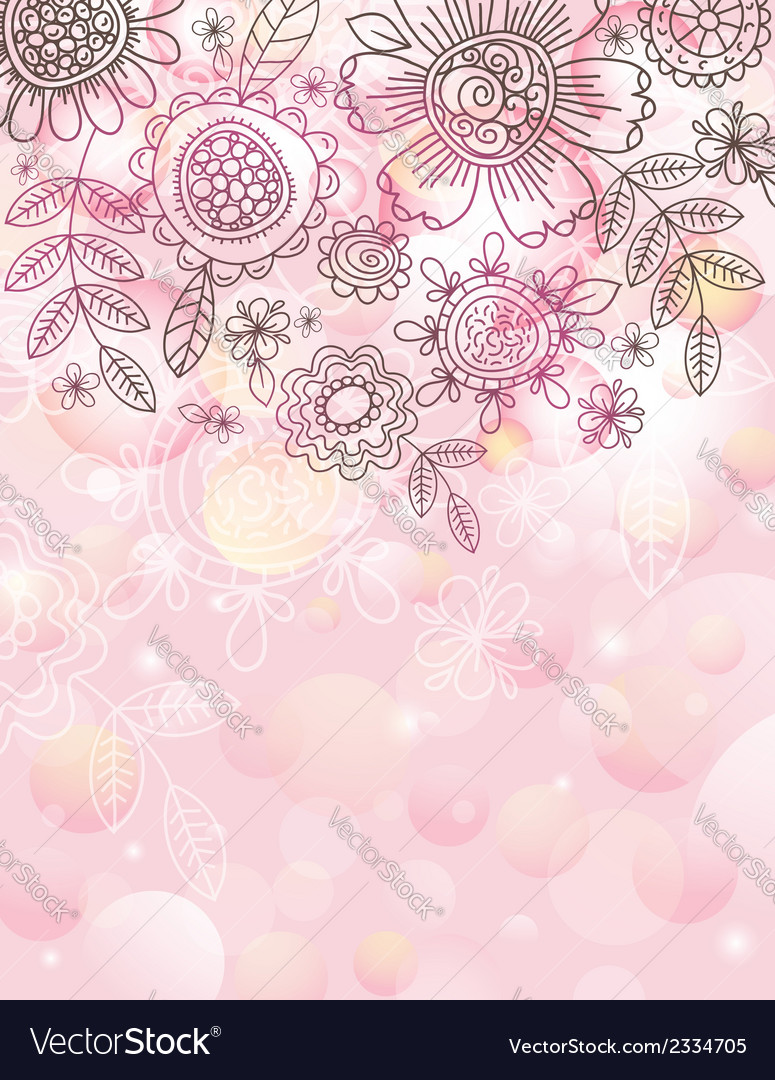 Pink background with hand draw flowers vector | Price: 1 Credit (USD $1)