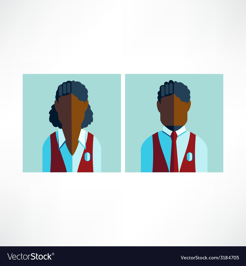 Schoolboy and schoolgirl african icon flat vector | Price: 1 Credit (USD $1)