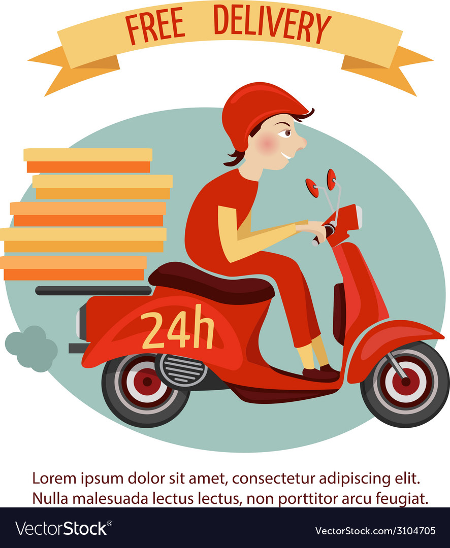 Scooter delivery poster vector | Price: 1 Credit (USD $1)