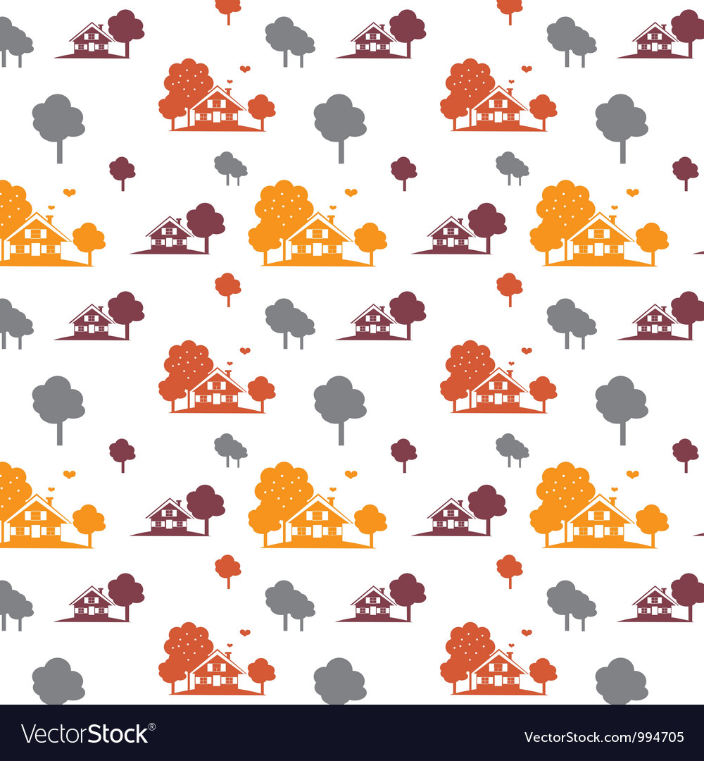 Seamless autumn village vector | Price: 1 Credit (USD $1)