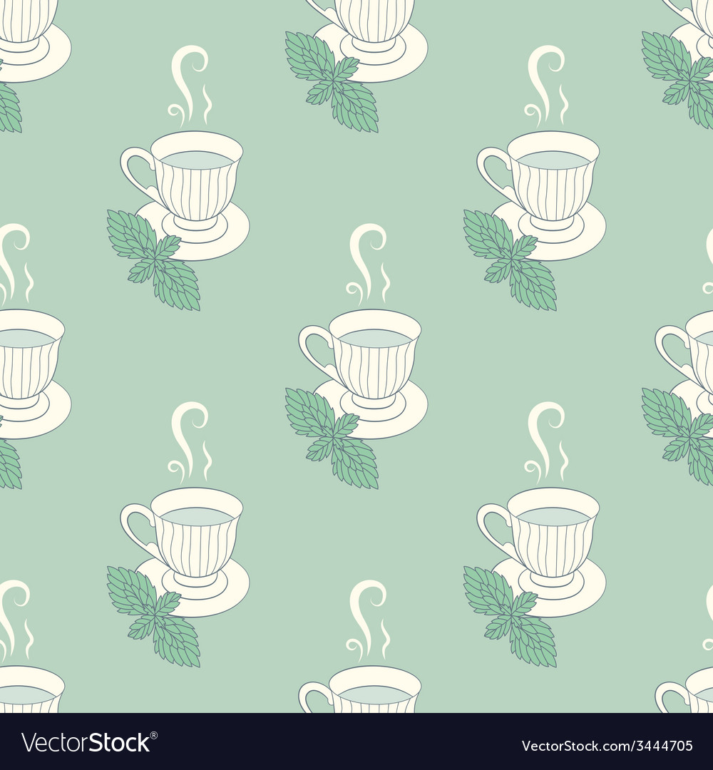 Tea mugs with mint seamless patern vector | Price: 1 Credit (USD $1)
