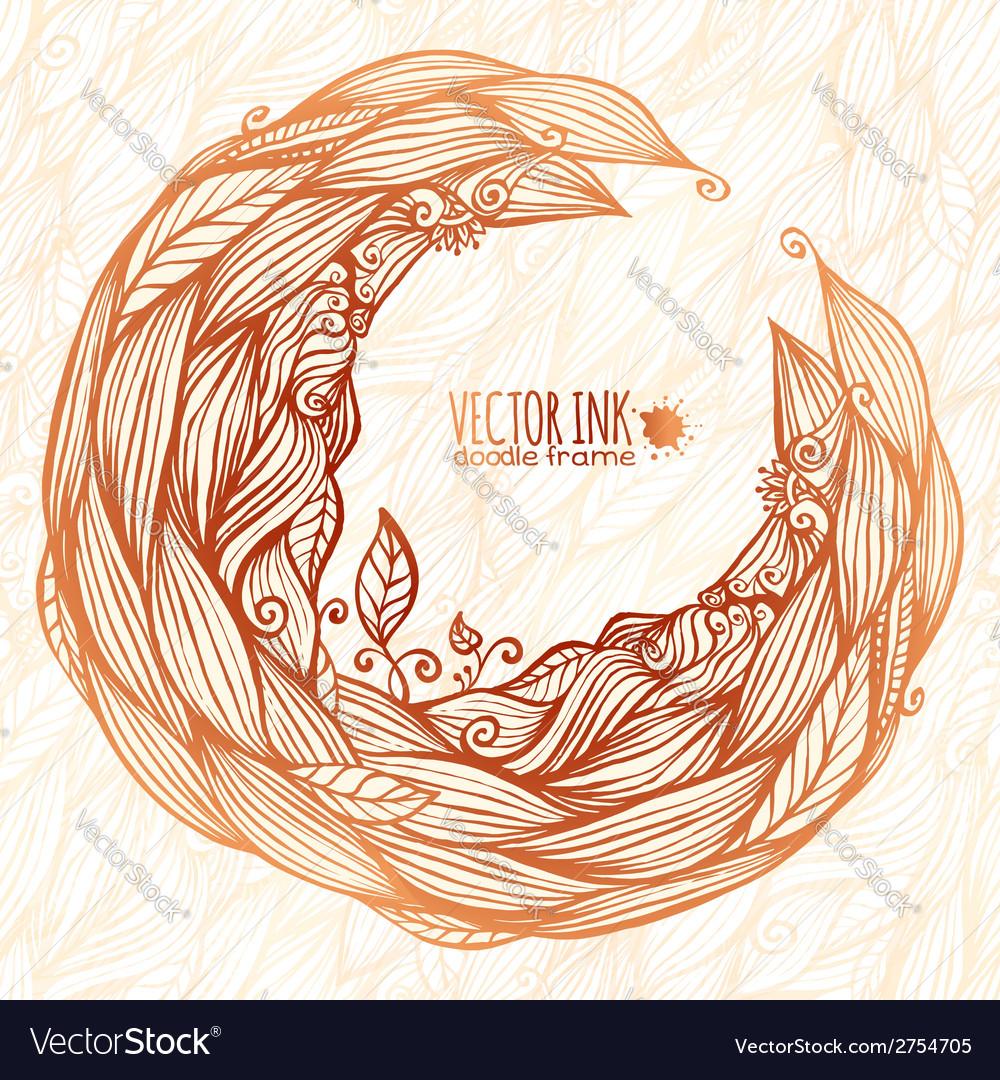 Vintage doodle leaves ornate circle frame vector | Price: 1 Credit (USD $1)