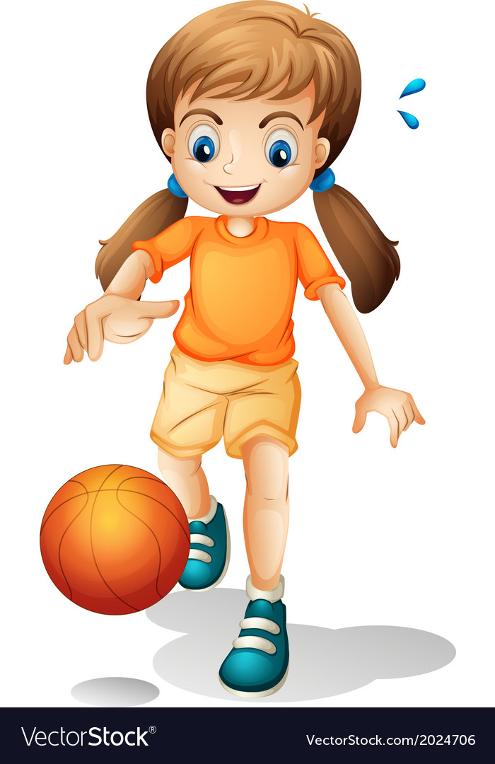 A young girl playing basketball vector | Price: 3 Credit (USD $3)
