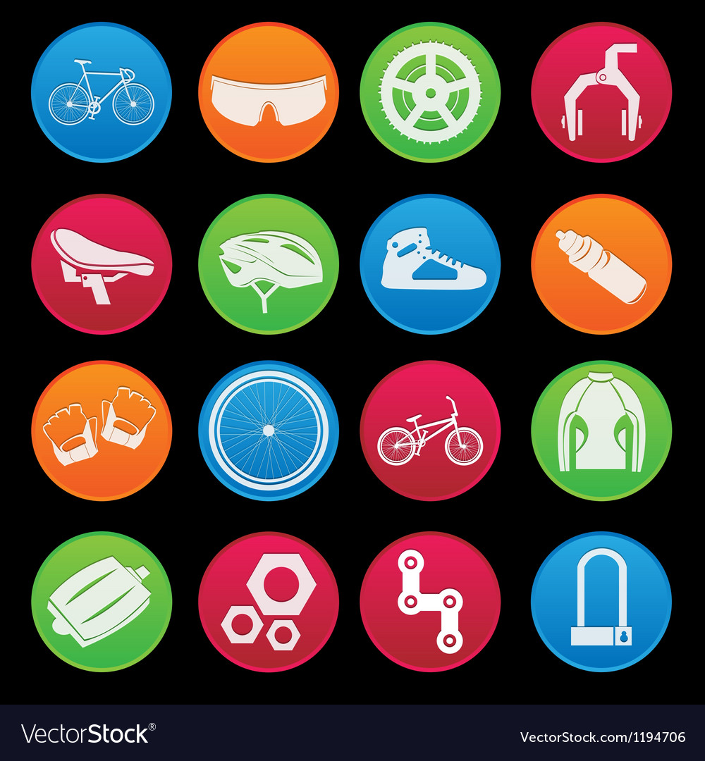 Bicycle icon set gradient style vector | Price: 1 Credit (USD $1)