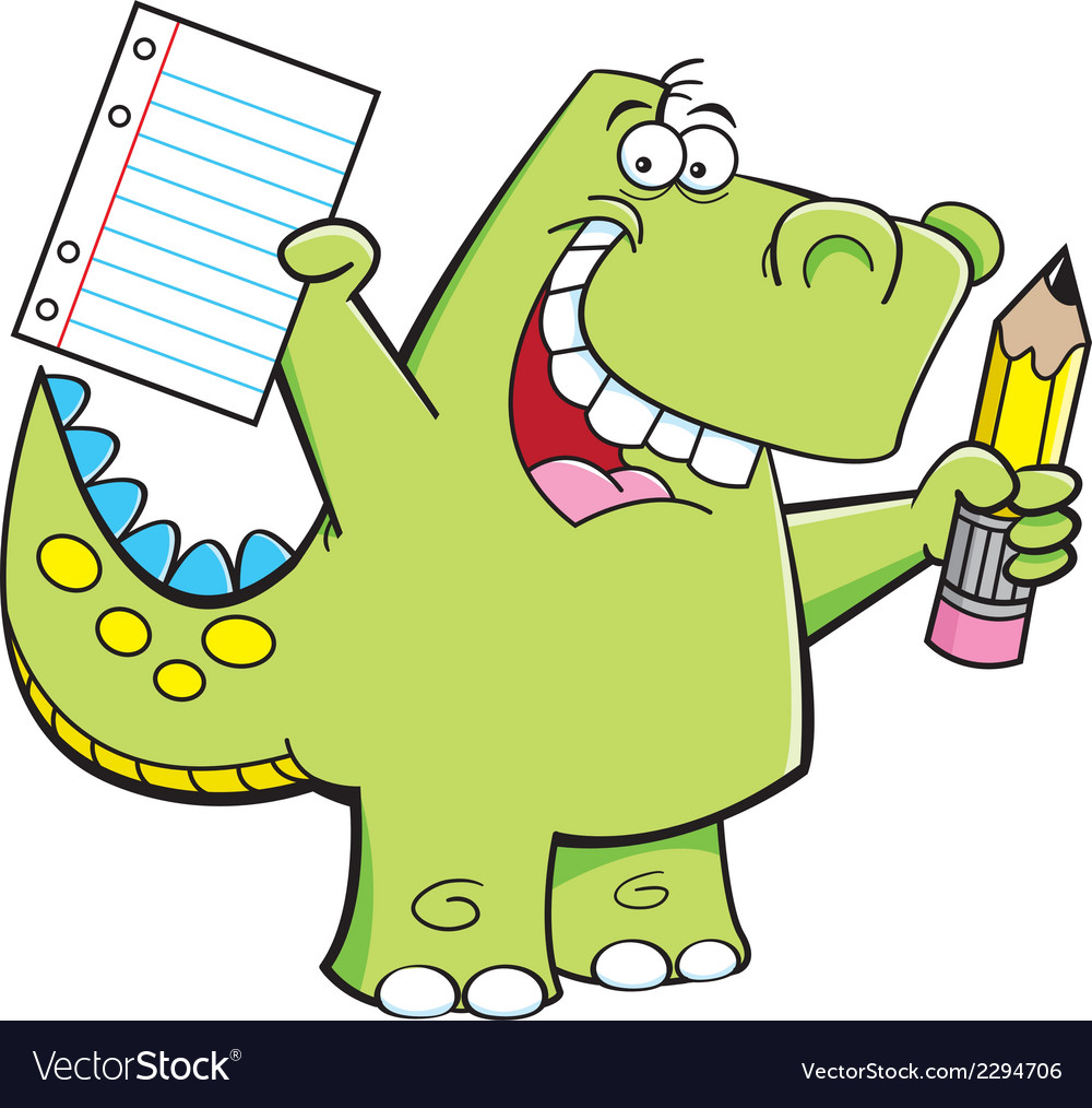 Cartoon student dinosaur vector | Price: 1 Credit (USD $1)
