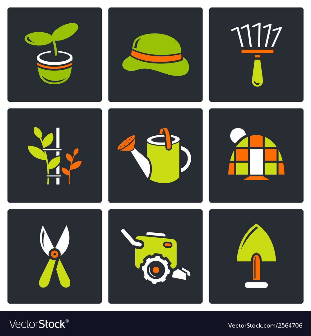Garden icon set vector | Price: 1 Credit (USD $1)