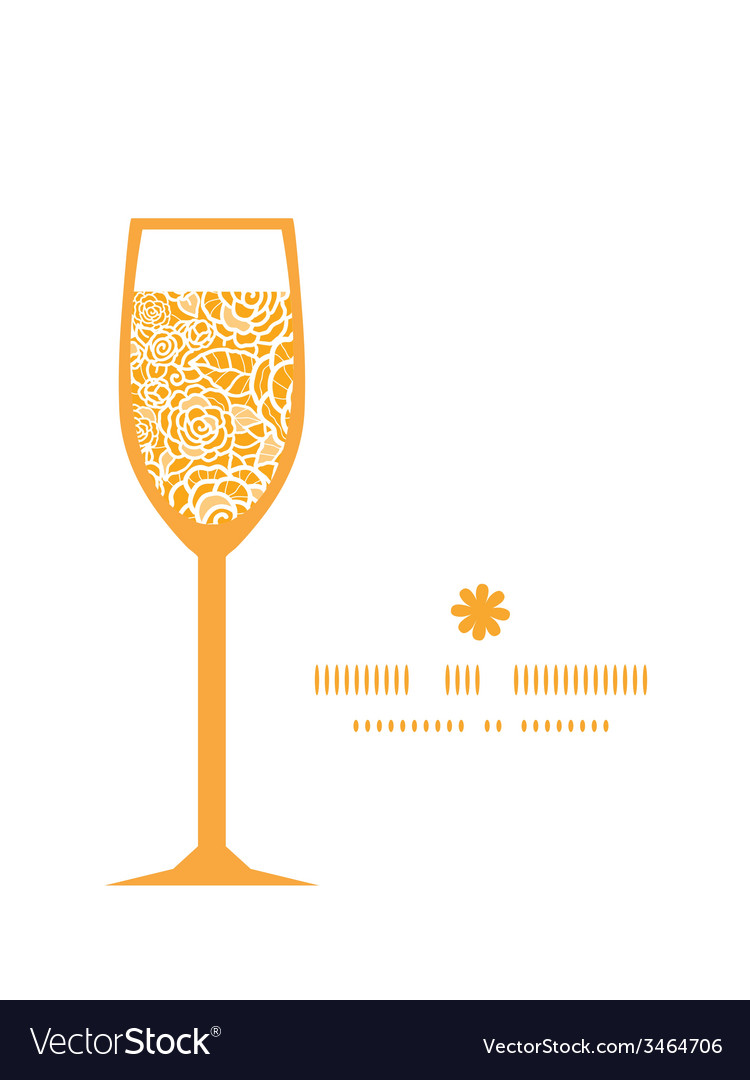 Golden lace roses wine glass silhouette pattern vector | Price: 1 Credit (USD $1)