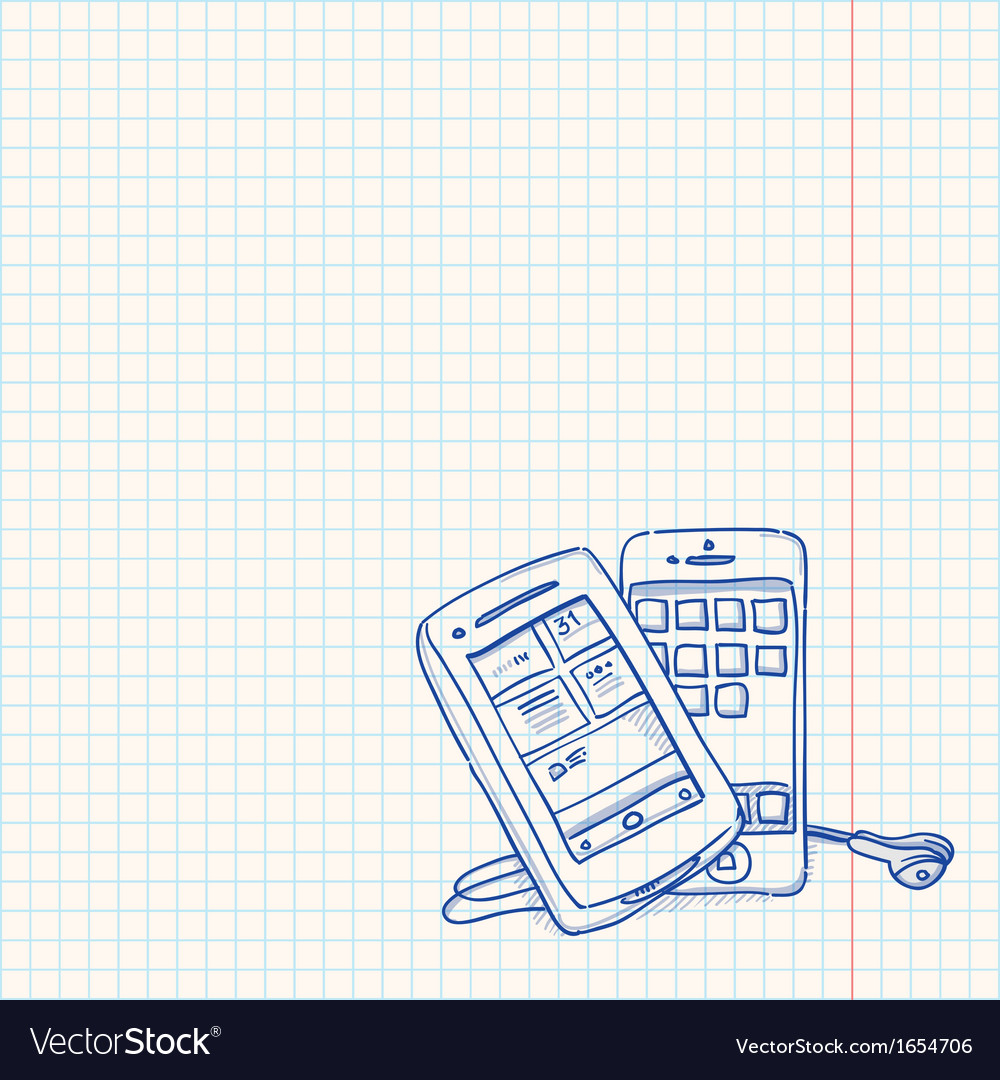 Mobile phone sketch vector | Price: 1 Credit (USD $1)