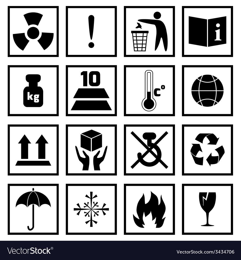 Packing symbols black vector   Price: 1 Credit (USD $1)