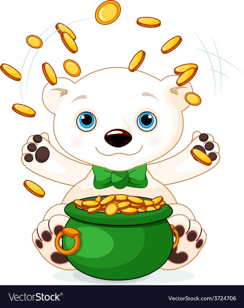 Polar bear juggles gold coins vector   Price: 3 Credit (USD $3)