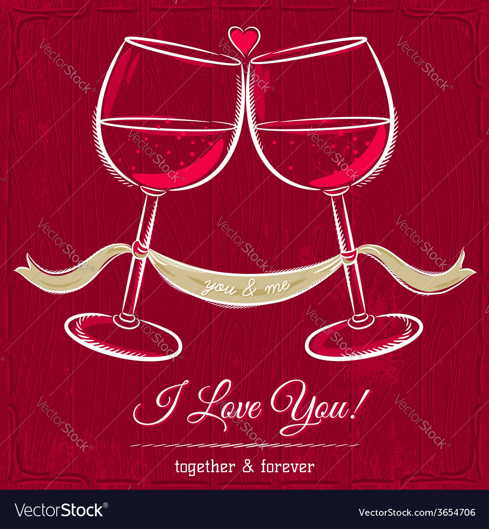 Red valentine card with two glass of wine vector | Price: 1 Credit (USD $1)