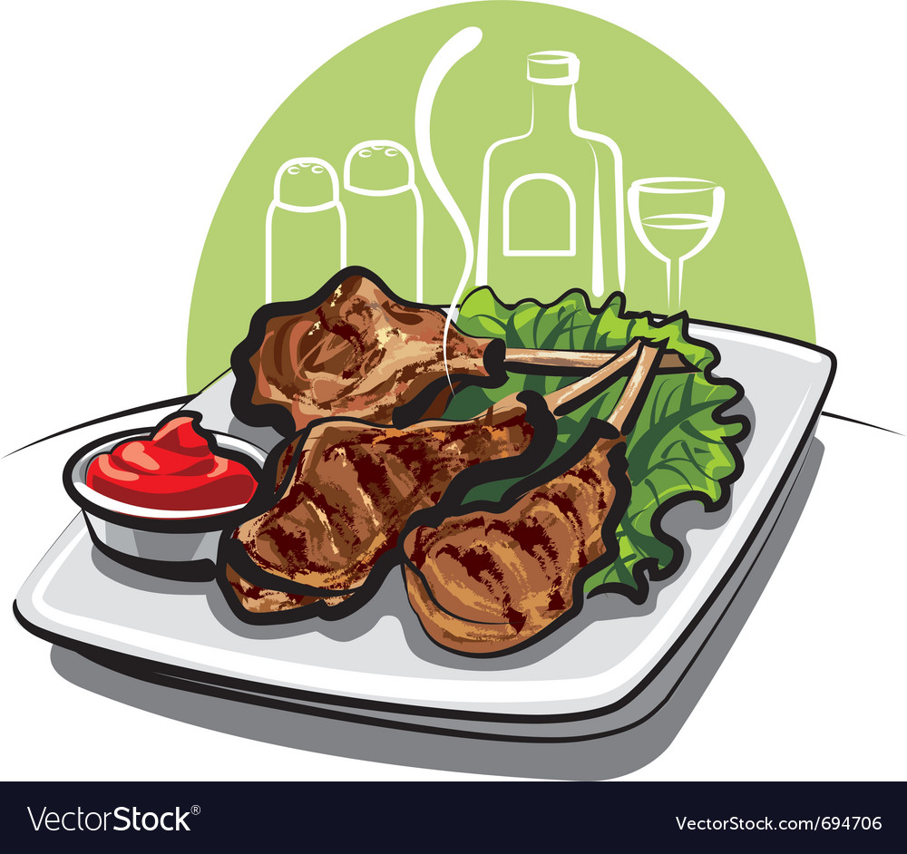 Roasted lamb chops vector | Price: 3 Credit (USD $3)