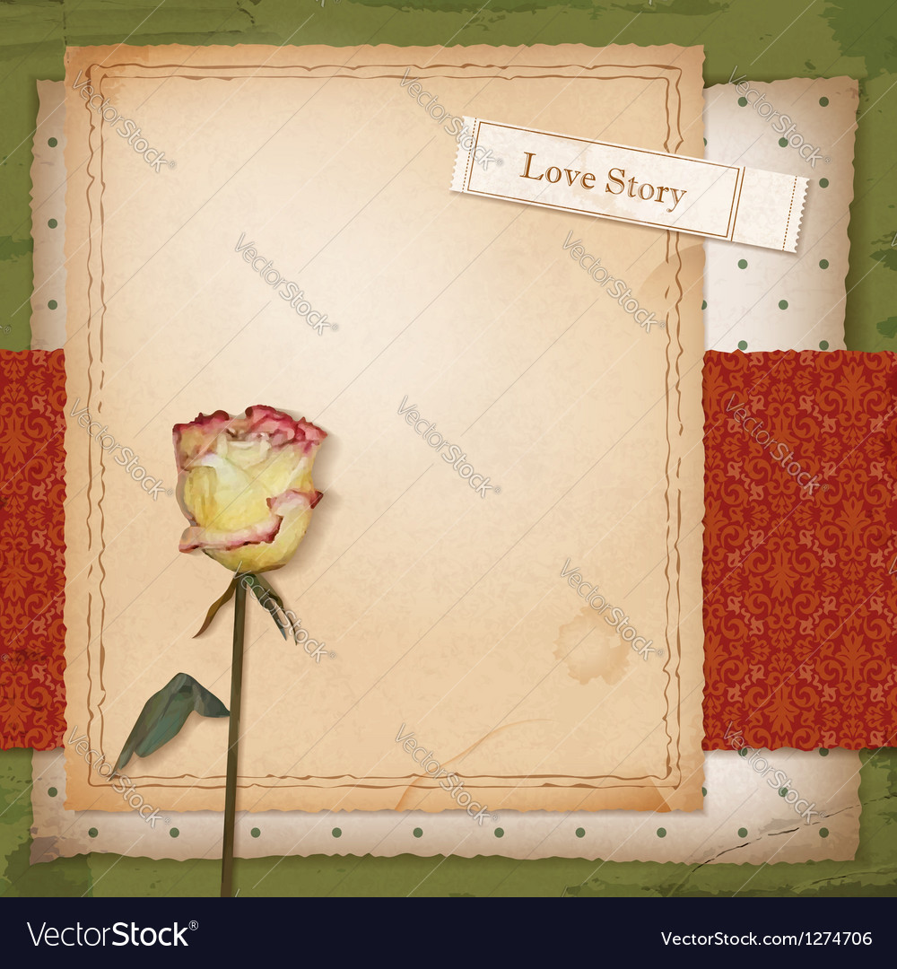 Scrapbook old paper background with dried rose vector | Price: 3 Credit (USD $3)