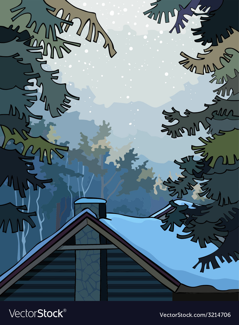 Winter landscape over the roof the house vector | Price: 3 Credit (USD $3)