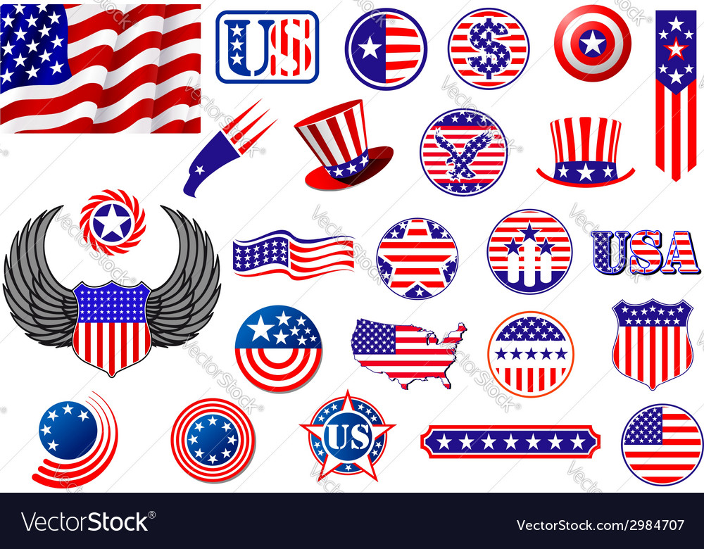 American patriotic badges symbols and labels vector | Price: 1 Credit (USD $1)
