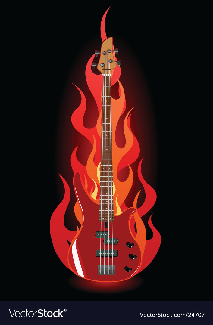Bass guitar in flames vector | Price: 3 Credit (USD $3)