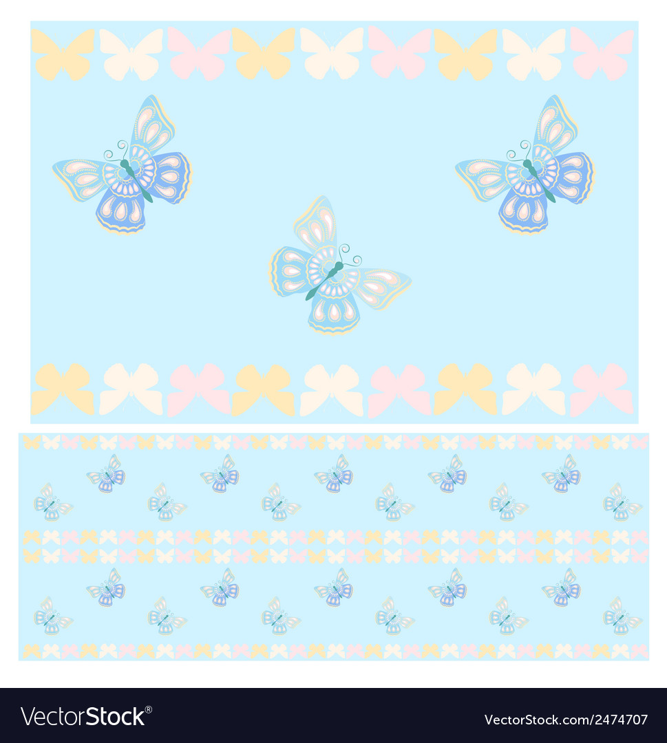 Blue butterflies seamless pattern vector | Price: 1 Credit (USD $1)