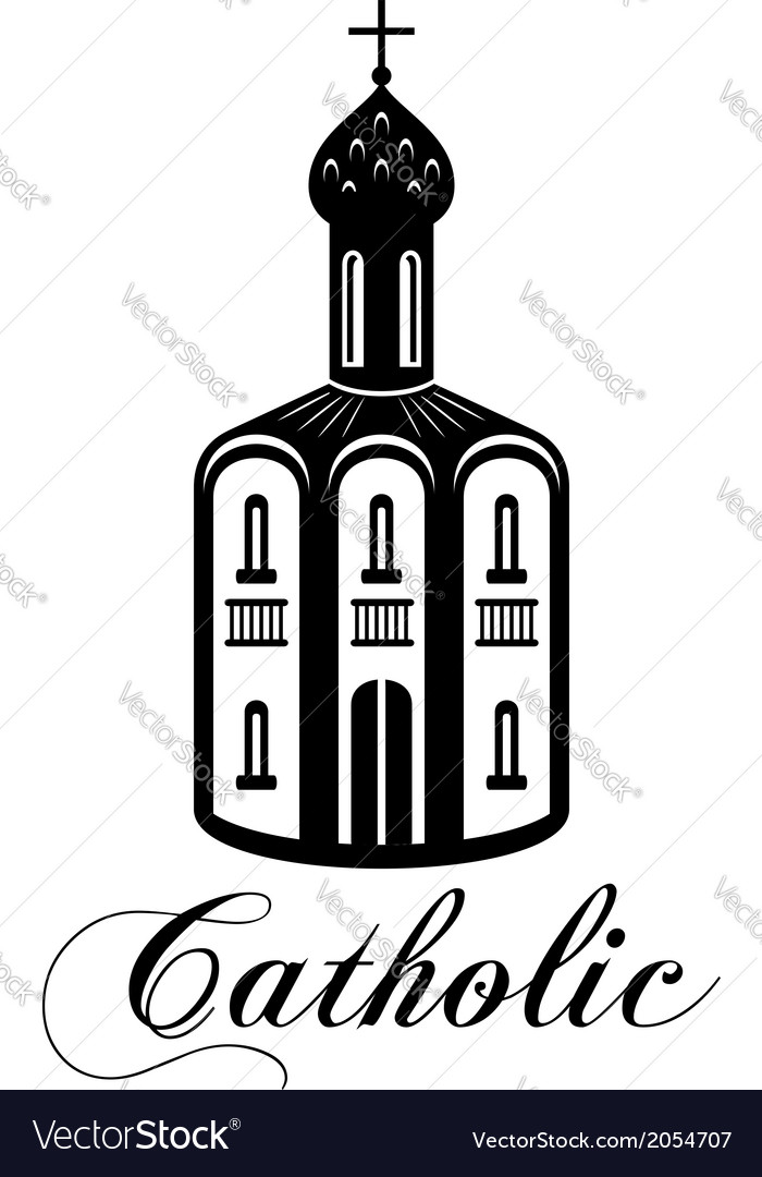 Catholic temple building vector | Price: 1 Credit (USD $1)