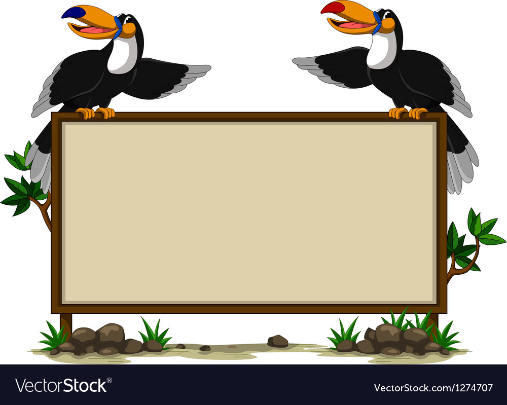 Couple toucan sitting on blank sign vector | Price: 1 Credit (USD $1)