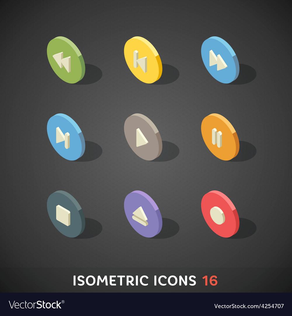 Flat isometric icons set 16 vector | Price: 1 Credit (USD $1)