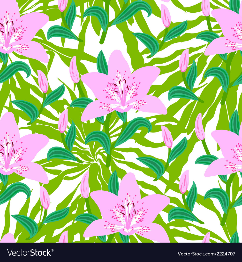 Floral pattern with tropical big pink lily flowers vector | Price: 1 Credit (USD $1)