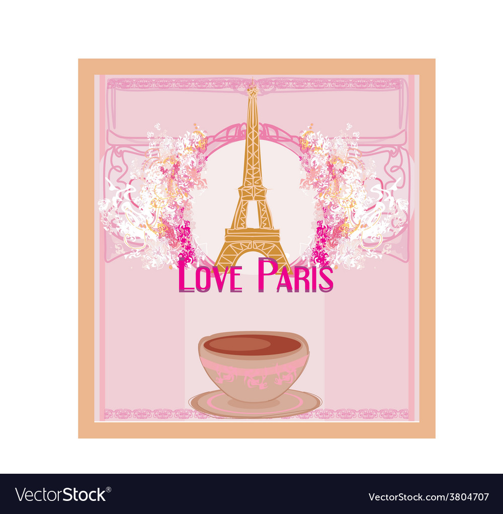 Love paris with tower eiffel and coffee over pink vector | Price: 1 Credit (USD $1)