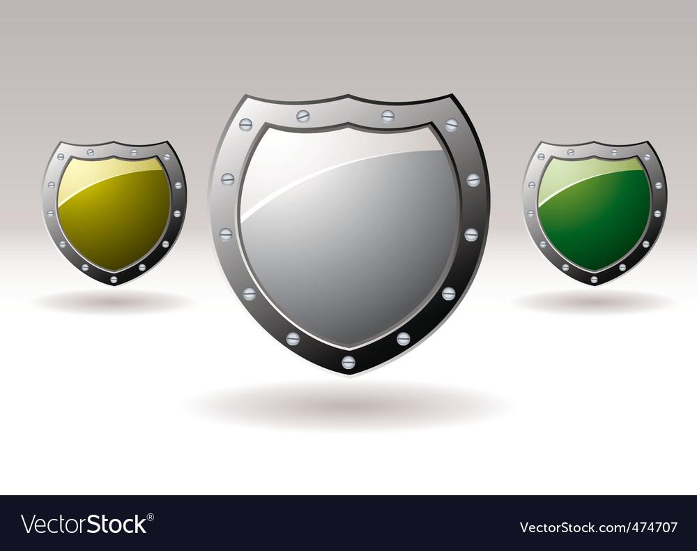 Metal shield icons vector | Price: 1 Credit (USD $1)