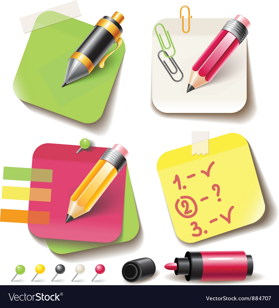 Note paper post with pencil vector | Price: 3 Credit (USD $3)