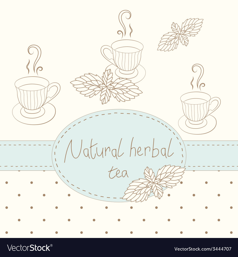 Outline tea mugs with mint business card vector | Price: 1 Credit (USD $1)