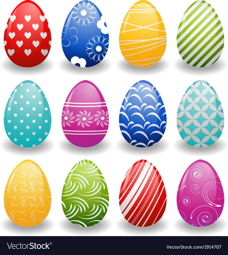 Set of bright eggs vector | Price: 1 Credit (USD $1)