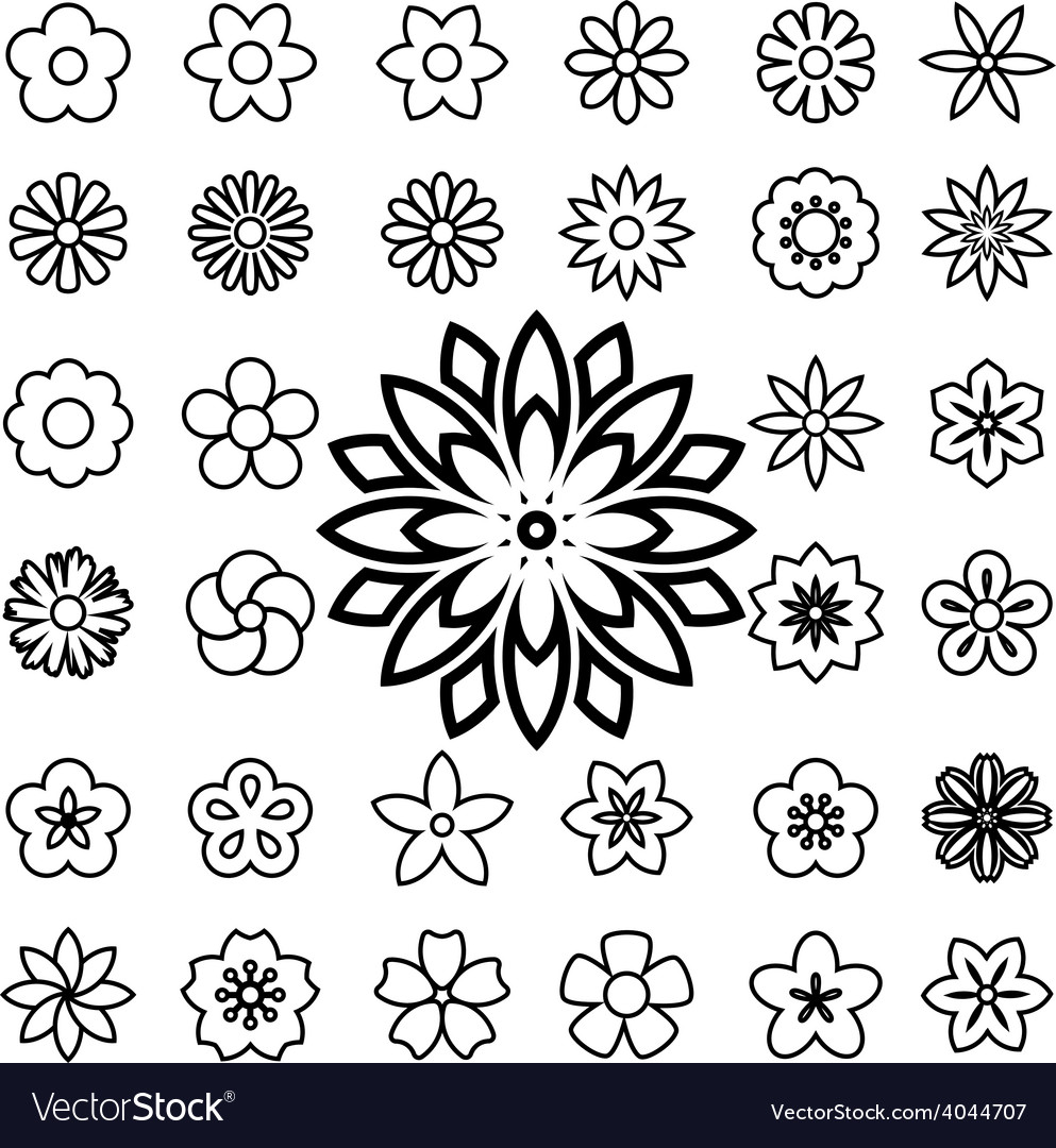 Set of flower line icons vector | Price: 1 Credit (USD $1)