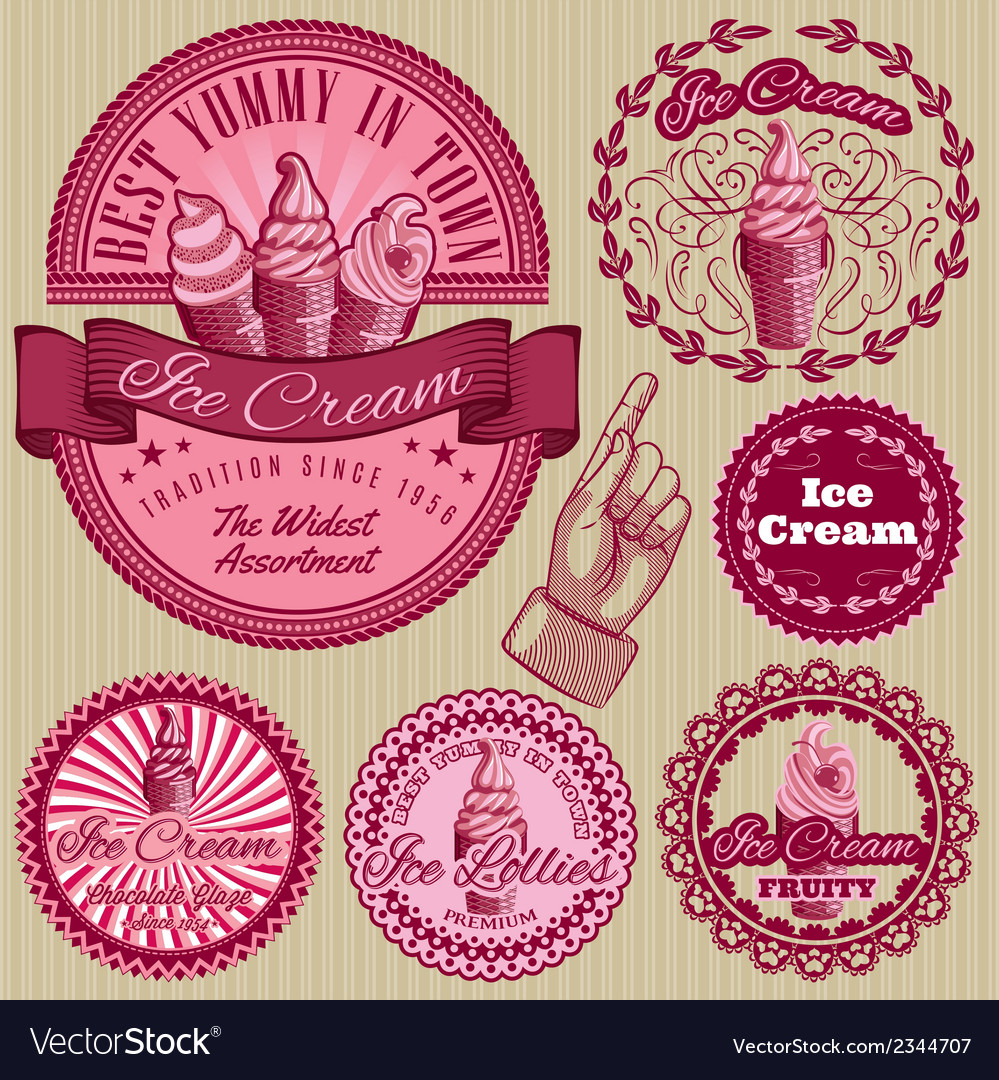Set of labels with ice cream for packing vector | Price: 1 Credit (USD $1)
