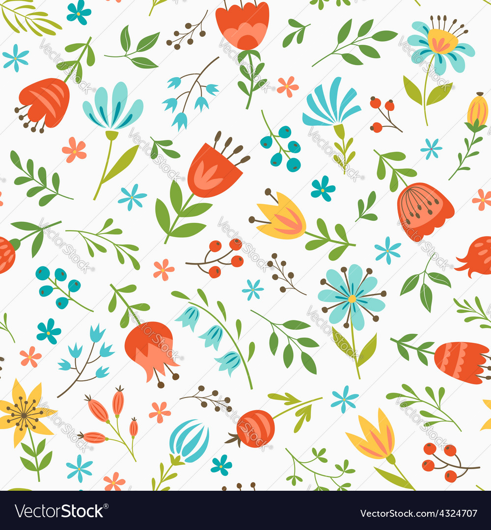 Spring floral pattern vector | Price: 1 Credit (USD $1)