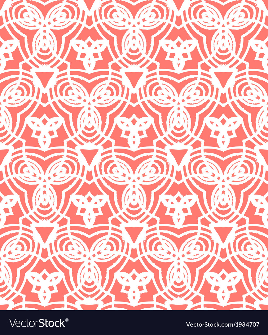 Vintage art deco pattern in coral red vector | Price: 1 Credit (USD $1)