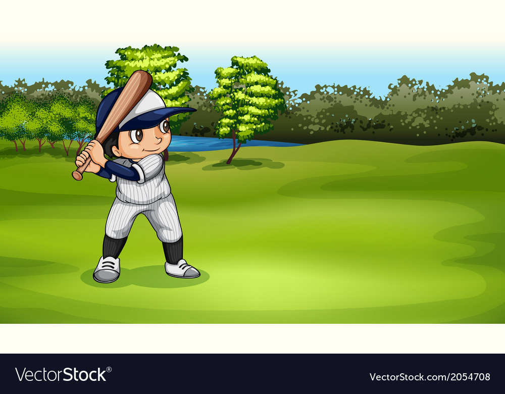 A boy playing baseball vector | Price: 1 Credit (USD $1)
