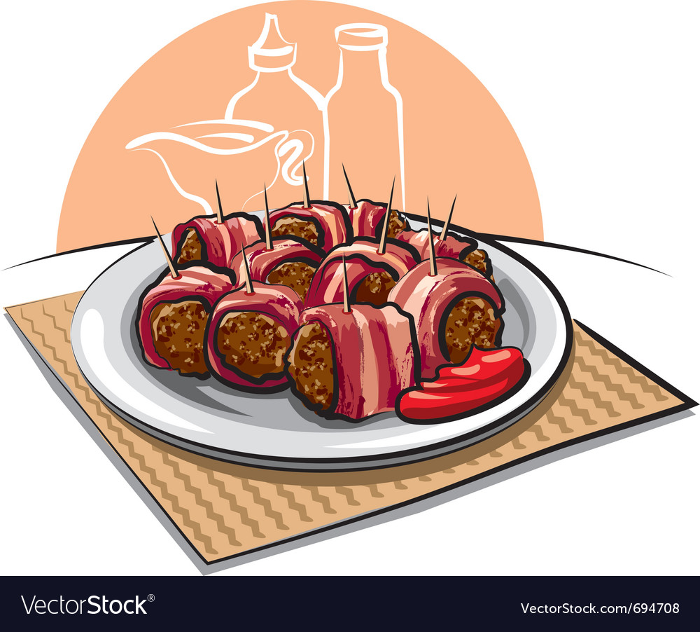 Bacon wrapped meatballs vector | Price: 3 Credit (USD $3)
