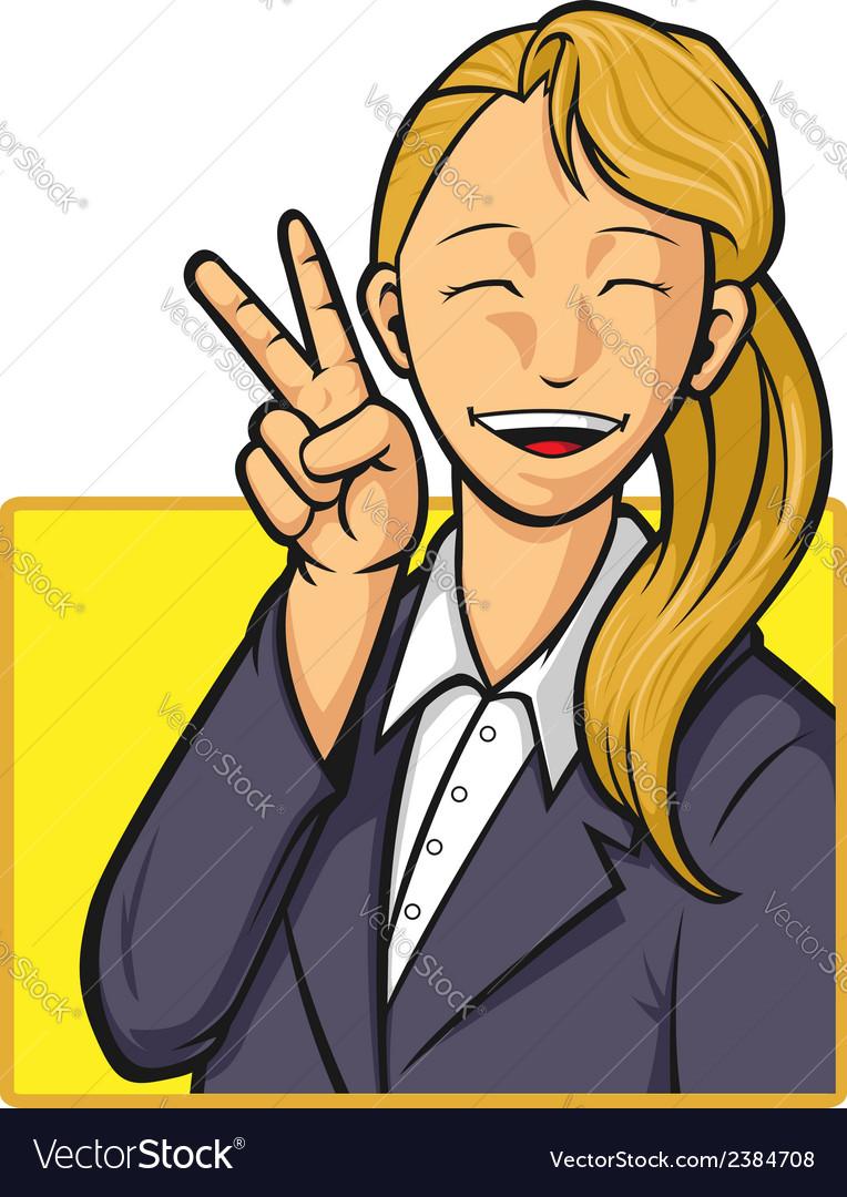 Cartoon of happy office worker girl vector   Price: 1 Credit (USD $1)